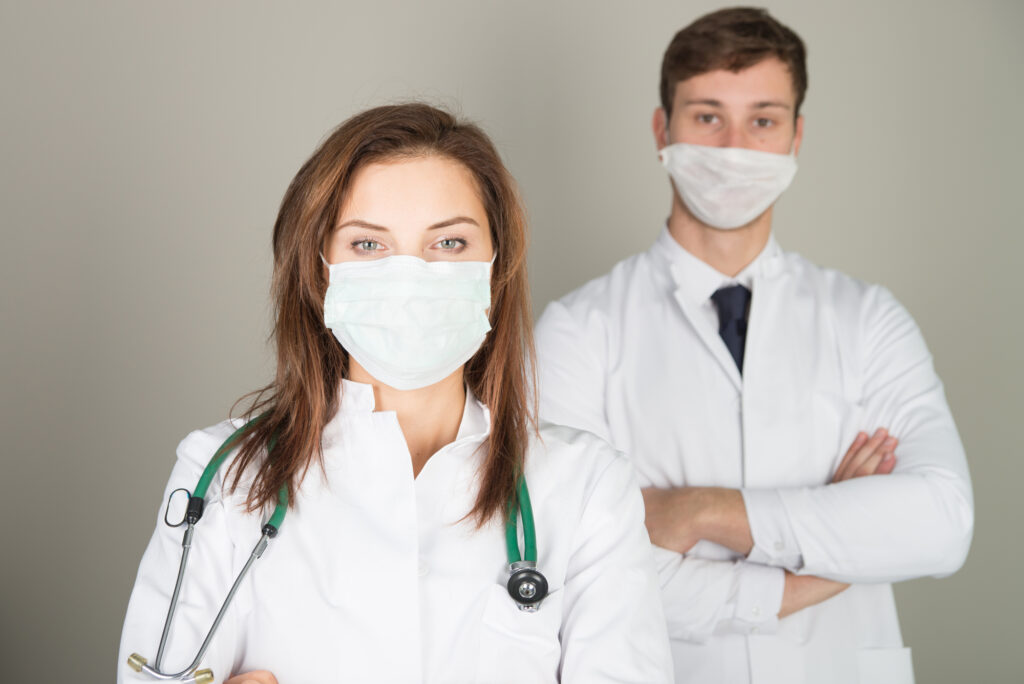 dental team wearing masks