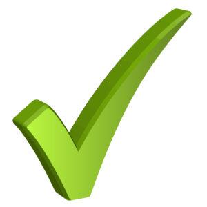 green check mark on white background